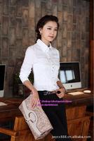 Free shipping,2014 New arrive korean women elegant temperament long sleeve OL,Career Large size white shirts,ladies formal tops