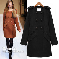 Free shipping Autumn and winter fashion double breasted fashion slim woolen overcoat women's medium-long outerwear