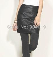 Women's Sexy PU Leather Pleated Fishtail Side Zipper Short Skirt Mini Dress M-XXXL