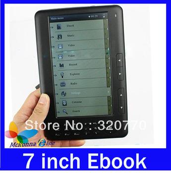 5pcs/lot Hot Salling!! Digital E-Book 7 Inch Reader FM Radio+4GB Memory&Free PU Leather Case+Mutil-Language+MP3/MP4 Player