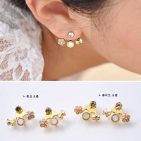 Min. order is $10 (mix order) E3052 Jewelry female unique flower saturn 5 butterfly flower diamond stud earring earrings