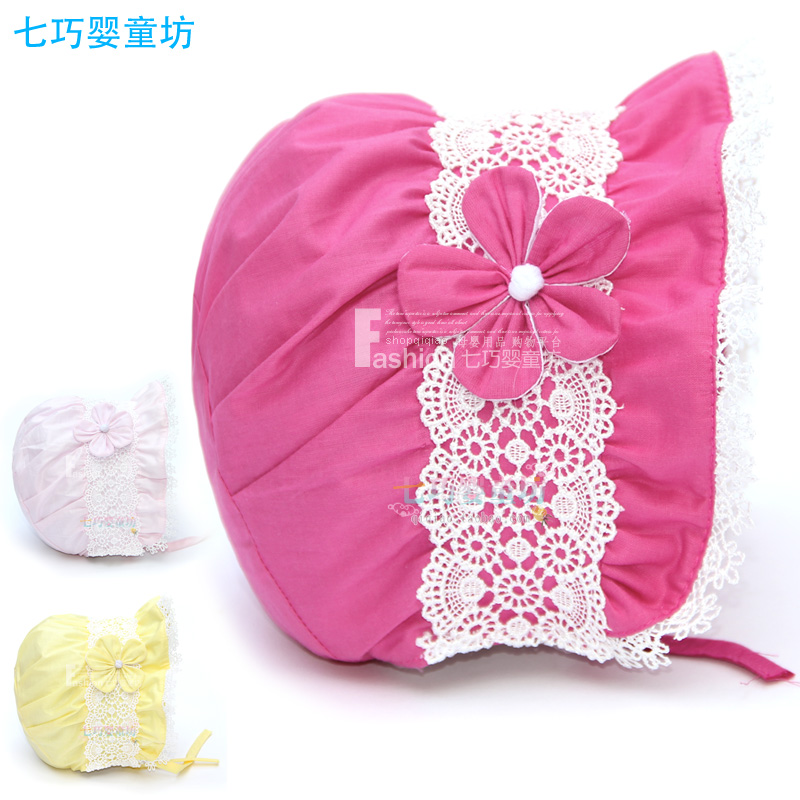100% cotton spring and autumn princess hat cap baby hat child hat baby hat sunbonnet(China (Mainland))