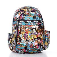 2014 Flower waterproof nylon cotton prints student school bag backpack laptop bag travel bag backpack free shipping