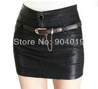 Women's Sexy PU Leather Poacket Belt Zipper Short Skirt Mini Dress M-XXXL