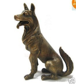 Chinese bronze nice German Shepherd Dog Statue 6.5&quot;H(China (Mainland))