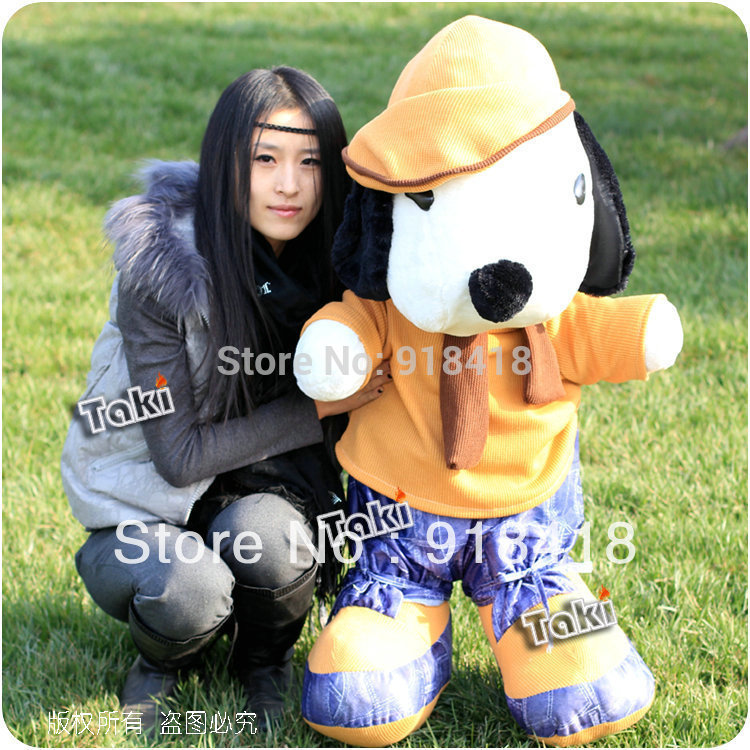 Retail Huge size stuff plush dog dolls 120cm/47inch pocoyo plushchildren toys for girls yellow color(China (Mainland))