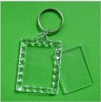 "10pcs Blank Acrylic Rectangle Keychains Insert Photo Keyrings (Key ring chain)1.5""x 1.9"",plastic photo frame keychain"
