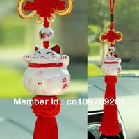 10 pcs Ceramic Bone china Lucky Cat Car Pendant  MANEKI NEKO Charm Car Accessories Feng Shui