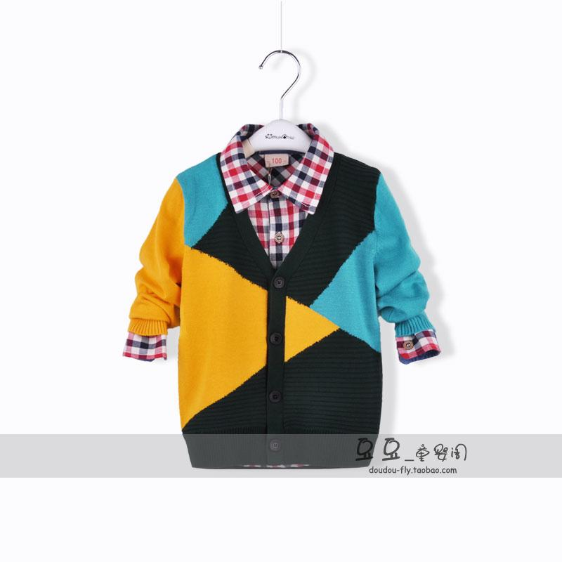 2013 male child outerwear cardigan cashmere sweater child sweater color block decoration children's clothing spring and autumn(China (Mainland))