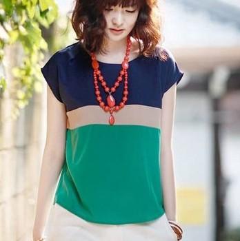 women/lady high quality chiffon shirt plus size t-shirt loose short-sleeve T-shirt Blouses free shipping