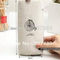 vintage canvas Pencil pen Case Pocket organizer storage Makeup cosmetic stationery bag with zipper whcn+