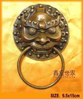 "Free Shipping Chinese Bronze Foo Dog Guardian Lion Door Knocker 4""D"