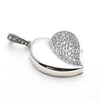 Silver Heart Shape Crystal Jewelry USB Flash Memory Drive Necklace Pendant-2GB 4GB 8GB 16GB 32GB100%full capacity