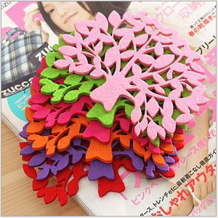 [Vic]Free shipping 20pes/lot Home & Garden wholesale Colorful Felt Tree Design Cartoon Cup Mat Sweet Pad Coaster Cup Cushion