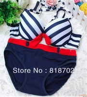 New Sexy Womens Girls Sand Baby Bra Sets With Briefs Padded Fashion Navy Style Bra Sets 32A 34A 36A 32B 34B 36B Bra