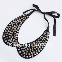 Wholesale - New Cool Punk Black Cotton Slik Chain Silver/Gold Rivets Collar Bib Necklace 4pcs/lot mix color