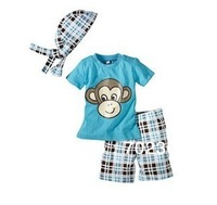 2013 Factory outlets boy's 3pcs set (t-shirt+ shorts+ cap)children beachwear happy Monkey Baby suits kids clothing bs005