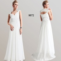 Chiffon White Sexy V-neck Ruffles Vintage Evening Dress