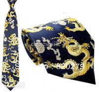 Blue Silk Tie Neckties Dragon Designs 10pcs/lot mix Free