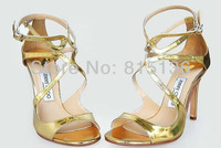 2013 Summer Fashion gold mirror lace combination stiletto Rome shoes leather high-heeled sandals,stiletto sandals sexy