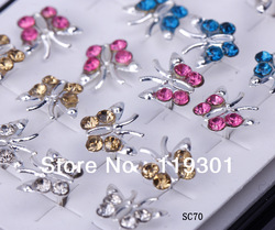 Free Shipping 40pcs Fashion Butterfly Ear Stud 925 Sterling Silver Charms Earring Wholesale Hot Sale SC70(China (Mainland))