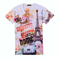 Free shipping,2013 new arrival tops and tees,creative t shirt ,mens V-neck t shirt, 3D printed t-shirts for men,  MTS058