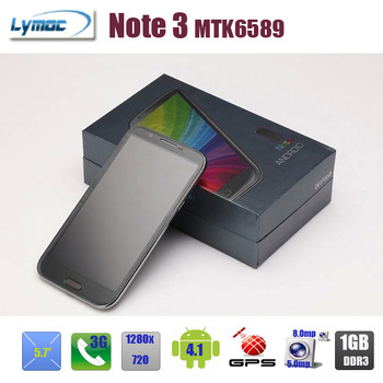 5.7 inch cell phone MT6589 Quad core android 4.1+8.0MP+3G+GPS+1280x720+3600Mah+8GB Note 3