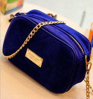 Fashion 2013 women's fashion genuine leather handbag scrub navy blue gold one shoulder women's chain handbag small bag