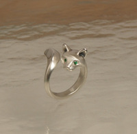 Animal Cat Rings Kitty Jewelry Real Yellow Gold and White Gold Plating Ring Free Shipping (Mini. Order $10)