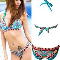 New Luxurious Ladies Sexy Floral Boho Patterns Prints Bikini Swimwear Swimsuit US6/8