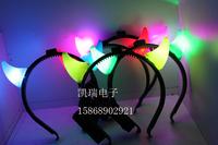 free shipping 10pcs/lot Luminous 02070209 small horn hair accessory with light horn headband halloween masquerade party