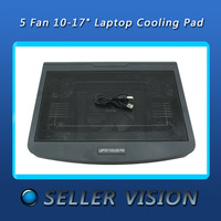 "5 Fan Blue LED 10-17"" Laptop Notebook Cooling Cooler Stand Pad + Extra USB Port"