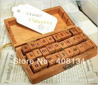 Lower case letter Free ship 30pcs/set, Creative Lowercase Alphabet wood rubber stamps set, Wooden box ,Decorative DIY work,4 set