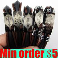 Punk Men Rubber Bracelets Multi Design Stainless Steel Bracelets Men's Jewelry  Free Shipping