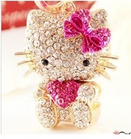 Free Shipping wholesale keychains, mix order $15 alloy crystal hello kitty key bag chain in pink bow free jewelry gift-HT_2288