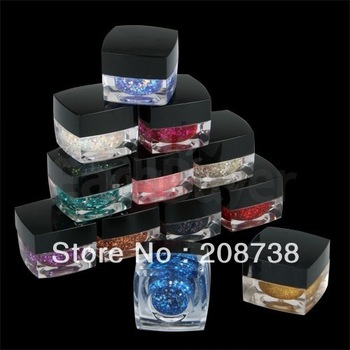12 Mixed Color Glitter UV Builder Gel Acrylic Nail Art