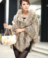 New Arrival rabbit fur and raccoon cape with hood hand knitted fur poncho /Shawl / stole 7 colors wholesale and retail