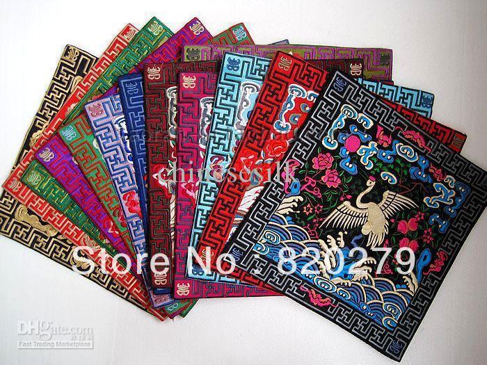 Personalized Placemats Christmas Chinese Satin Square Embroidery Crane Patterns 30pcs/pack mix Free(China (Mainland))
