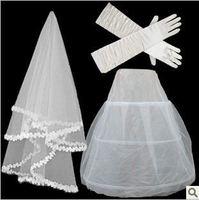 set4  Free shipping Wedding Bridal gloves 100cm veils petticoat Wedding  Dress Accessories three-set 2014