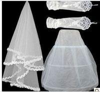 set1  Free shipping Wedding Bridal gloves veils petticoat Wedding  Dress Accessories three-set 2014