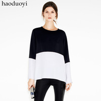 Black and white colorant match long-sleeve autumn and winter shirt basic studio color double block decoration top 6 jackets