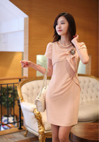 New 2013 Spring Summer Women's Ladies' Elegant Ol Slim Dress With Corsage Black Pink Color Free Shipping