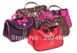 wholesale Fashion bowknot Zip Cosmetic travel washing Toiletry storage bag case make up Organzier Ladies girl Shower Camping(China (Mainland))