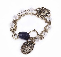 New Arrival!  Wholesale vintage quality Lucky owl charm bracelet, retro, antique jewelry