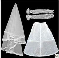 set7  Free shipping Wedding Bridal gloves layer veils petticoat Wedding  Dress Accessories three-set 2014