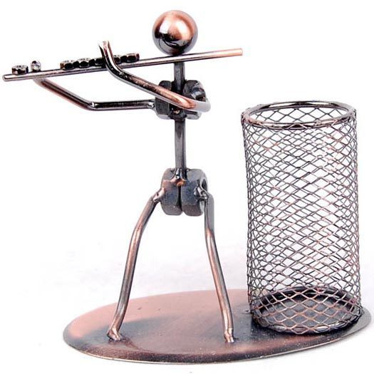 Wrought iron band flute pen holder supplies student gift desk decoration pen container for home decor Free shipping Q05-FLUTE(China (Mainland))
