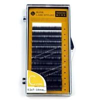 Mixed C Curl 0.20 mm * 7-14mm    One Tray Blink Mink C B curl individual black false eyelash extension Tray lash