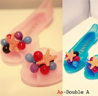 small starfish candy color transparent jelly shoes qualitative flat sandals rain boots