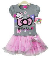 2013 new fashion children kids dress ,girls hello kitty tutu dress ,one-piece KT cat print bow dress free/drop shipping