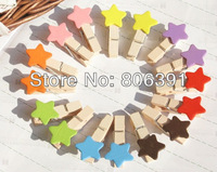 80pcs/lot,cute heart wood clips, star memo card clamp /colorful panting wooden paper pegs/photo clamp